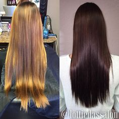 Before & After. Rich chocolate brown hair color