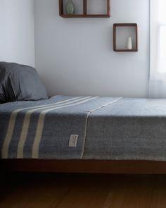 Wool Queen Blanket - Blue Heather with White Stripes – Nalata Nalata