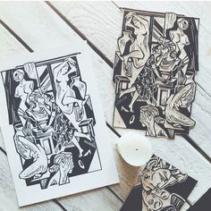 Incredible linocuts by @anastasia_kilay #craftsposure by craftsposure