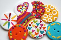 buttons from polymer clay. I see these and think how cool they would look on cards. I have problems!