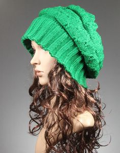 Slouchy Beanie Hat Cap in Green - Colonial Classic