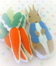 Peter Rabbit and carrots felt cookies