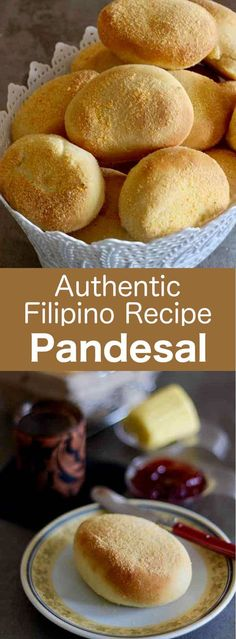 Pandesal or pan de sal is the famous little bread roll from the Philippines. It is airy and slightly sweet. Philipinische Desserts, Filipino Desserts, Filipino Recipes, Dessert Recipes, Filipino Food, Filipino Dishes, Pinoy Dessert, Filipino Culture, Cuban Recipes