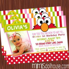 http://mimisdollhouse.com/product/sesame-street-invitation-pink/  Sesame Street Invitation  The Sesame Street invitation is personalized to include Name, Age, Date, Time, Location, and RSVP and photo (optional).  This invitation is available in printable JPED and PDF formats.  A coordinating decorations package is available for this theme: http://mimisdollhouse.com/product/sesame-street-party-printable-collection/  #Elmo #ElmoInvitation #ElmoParty #BirthdayParty #SesameStreet…