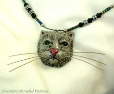 Grey persian cat pendant Polymer clay kitty by CrumpledFantazies