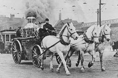 Steam Fire Engine with Three Horses by Wisconsin Historical Images, via Flickr