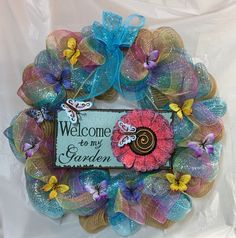 "Spring wreath ""Welcome to My Garden"" mesh wreath. Pastel stripe, burlap mesh. 12"" sign, flower, butterflies, 22 inch wreath, Wire hanger. by KhQualityCreations on Etsy"