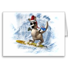 Christmas Kangaroo Greeting Cards Holiday Cards, Christmas Cards, Stay Cool, Kangaroo, Christmas Holidays, Surfing, Disney Characters, Fictional Characters, Greeting Cards