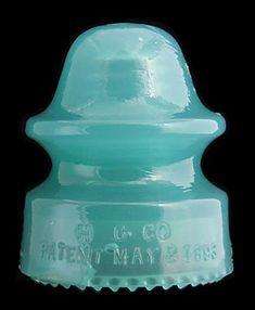 CD 164 H. (glass insulator) Color: Jade Green Milk Description: Skirt bruise to the left of center. Antique Bottles, Vintage Bottles, Bottles And Jars, Vintage Glassware, Antique Glass, Mason Jars, Apothecary Jars, Vintage Perfume, Perfume Bottles
