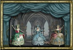 Vintage toy theater curtain and background used to create this digital scene by EKDuncan. See more at http://www.ekduncan.com/2012/02/dancing-marie-3-queen-of-castle.html#