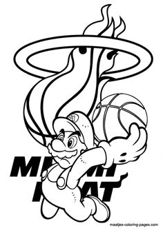 Free Miami Heat Icon Cooring Page To Print  Sports Coloring Pages
