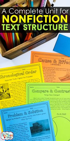 Teach Nonfiction Text Structure with this reading unit. Covers Compare & Contrast, Cause & Effect, Chronological Order (Sequential Order), and Problem & Solution. Includes practice pages, review activity, Text Structure anchor chart, and assessment. Perfect for 4th Grade Reading, 5th Grade Reading, and 6th Grade Reading.