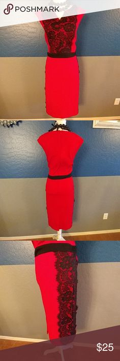 "NWOT Danny and Nicole Plus Size 16W Beautiful Red Black w/Lace, Sleeveless,  46""Bust and 41"" Length, Polyester and Spandex, Bundle and Save Danny and Nicole Dresses"