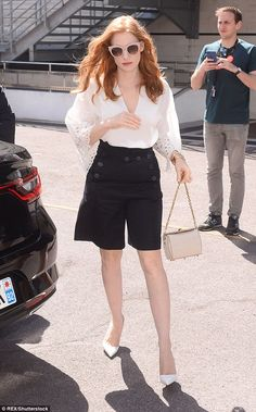 Stepping out in style: Jessica Chastain, 40, continued her sartorial display as she steppe...