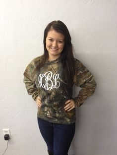 Full Monogrammed Camo Sweatshirt by WhoDeyPromotions on Etsy, $45.00