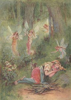 ≍ Nature's Fairy Nymphs ≍ magical elves, sprites, pixies and winged woodland faeries - Frances Brundage - Cinderella It sounded like Fairies Playing On little Harps. Fairy Dust, Fairy Land, Fairy Tales, Illustration Art, Illustrations, Vintage Fairies, Love Fairy, Beautiful Fairies, Flower Fairies