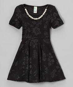 Loving this Black Floral Necklace Skater Dress - Girls on #zulily! #zulilyfinds