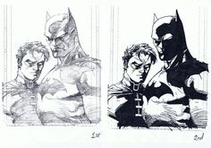 Ink Practice Exercise: Jim Lee's Batman and Robin by KazuAC