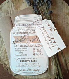 Mason Jar Invitations and Chalkboard Tags for Weddings or Showers ...