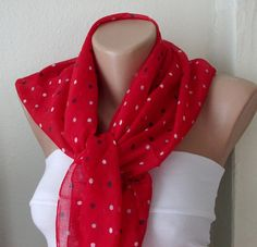 Dotted  Cotton RED Spring Scarf by Periay on Etsy, $15.00