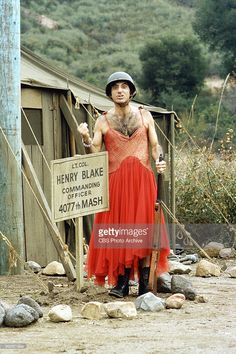 Portrait of American actor <a gi-track='captionPersonalityLinkClicked' href=/galleries/search?phrase=Jamie+Farr&family=editorial&specificpeople=657448 ng-click='$event.stopPropagation()'>Jamie Farr</a>, in costume as Corporal Maxwell Klinger, in a scene from the television series 'MASH,' California, 1974.