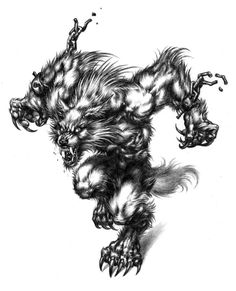 Artwork by my favorite werewolf artist, Ron Spencer Mythological Creatures, Mythical Creatures, Gatomon, Werewolf Art, Geniale Tattoos, Vampires And Werewolves, World Of Darkness, Creatures Of The Night, Arte Horror