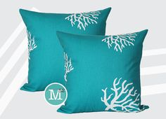 Turquoise Coral Pillow Covers - 20 x 20 and More Sizes - Zipper Closure