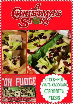 "Festive Crock-Pot White Chocolate Cranberry Fudge Inspired by ""A Christmas Story"". #25ChristmasMovies"