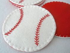 Baseball Felt Coasters  MugMats Set of by HeartStringsHandmade