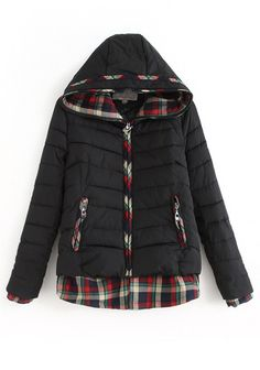 Black Patchwork Long Sleeve Cotton Blend Padded Coat
