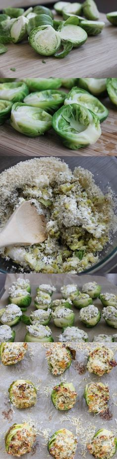 Garlic and Herb Stuffed Brussels Sprouts. Really? I'm supposed to scoop out brussel sprouts, one by one? Only on Pinterest....