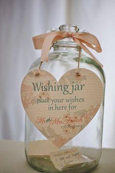 Plan It Event Design and Management! Little Wedding Details! Wedding Wishing Jar for reception dinner! planitcfl.blogspot.com