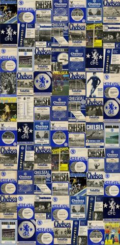 Chelsea Vintage Programmes mural (CSWCFC00200-2) - SportsWalls Murals - A spectacular montage of vintage Chelsea Football Club programmes create this wallpaper mural panel. Total mural size 135 x 265cm.  Sorry samples not available.  Paste the wall.