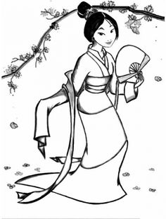 Princess Mulan And Cherry Blossoms Coloring Page