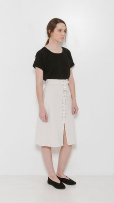 Sea NY Lace-up Cord Skirt in Cream | The Dreslyn
