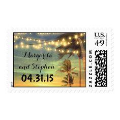 beach wedding sunset postage stamps
