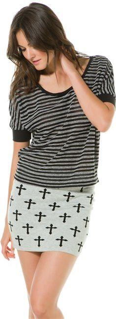 Cross body con skirt. @SWELL