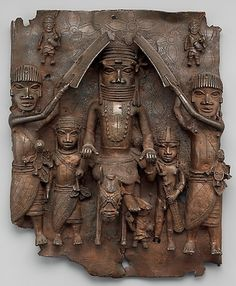 Plaque: Equestrian Oba and Attendants, Edo peoples (Benin Kingdom), 1550–1680, brass, H. 19 7/16 x W. 16 1/2 x D. 4 1/2 in. /49.5 x 41.9 x 11.4 cm (The Metropolitan Museum of Art)