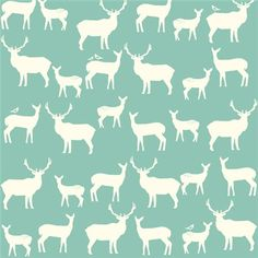 Knit Organic Cotton Fabric- Birch - Elk Family- Pool - Great Shipping Rates