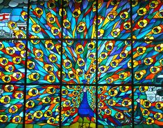 Peacock stained glass window by James Cridland, via Flickr
