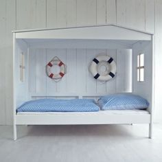 Kojenbett / Kinderbett STRANDHÜTTE, weiß, MDF/Massivholz, 90x200cm