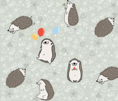 Hearty_Hedgies fabric by chloe_maddison on Spoonflower - custom fabric Hedgehog Drawing, Music Tattoo Designs, Happy Birthday Pictures, Like Animals, Fabric Swatches, Custom Fabric, Spoonflower, Baby Hedgehogs, Iphone Wallpaper