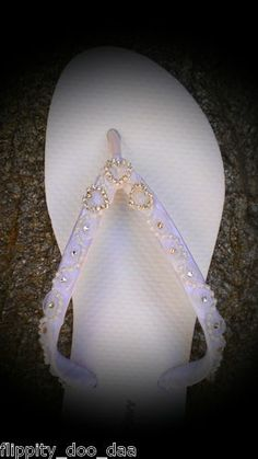 Rhinestone Heart Bridal Wedding Flip Flops Sizes 5-11  themarriedapp.com hearted <3