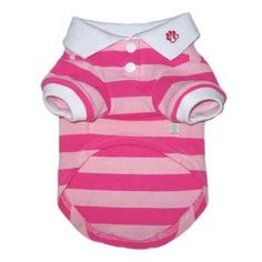 Classic Striped Dog Polo Shirt Pink | Designer Puppy Clothes at Glamourmutt.com