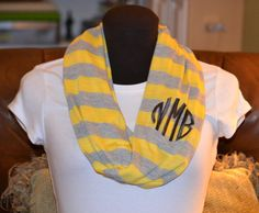 Monogrammed Infinity Scarf  Yellow and Gray Stripe by byrdlegs, $25.00