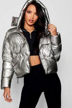 Metallic Hooded Puffer Jacket | Boohoo