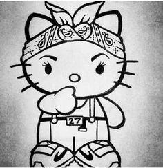 adding this to my tattoo list! Hello Kitty Drawing, Hello Kitty Art, Kitty Kitty, Bad Kitty, Hello Kitty Imagenes, Estilo Cholo, Cholo Style, Hello Kitty Tattoos, Lowrider Art