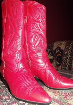 LOVE ME SOME RED!!!  RED COWBOY BOOTS western stitching red boots by OutOfMyMamasAttic, $65.00