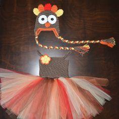 Crochet Turkey Tulle Tutu Dress with Matching Hat Baby Costume Handmade Photo Prop via Etsy $80