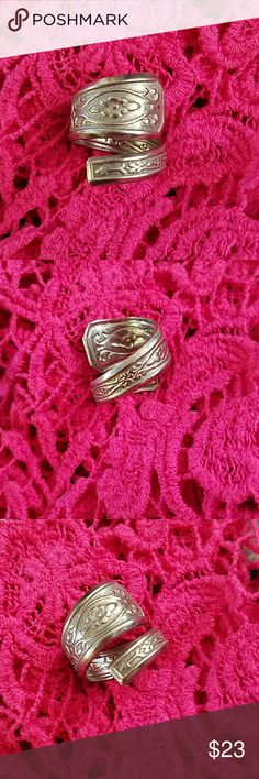 Vintage Silver spoon bypass ring stainless Hand crafted spoon ring    Completely Unique.. Size 9 1/2 More spoon rings are listed in my closet  All rings are unique and made by me Stainless steel unbranded Jewelry Rings